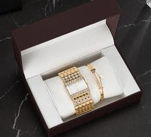 ⌚️ 3PCS Top Quality Stainless Steel Bracelet Fashion Women's Diamond Square Watches wit Gift Watch box Set High Quality Bangle hot