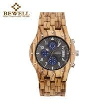 ⌚️ BEWELL Luxury Men Wood Watch Man Gift Watches Men's Chronograph Analog Digital Quartz Clock Relogio Masculino Horologe 109D