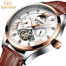 ⌚️ KINYUED Chronograph Fashion Brand Watch Men Automatic Mechanical Luxury Skeleton Watches Moon Phase Male Hand Wristwatches 2018
