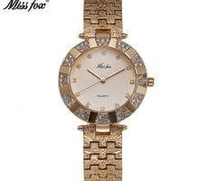 ⌚️ Miss Fox Woman Watches 2016 Brand Luxury Quartz Movement C Golden Clock Stainless Steel Back Water Resistant Bu 37mm Wrist Watch