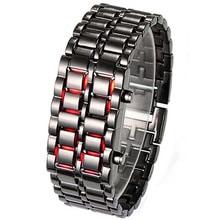 ⌚️ 2015 New Stainless Steel Bracelet Watch Men Women Lava Iron Samurai Metal LED Faceless Wristwatch