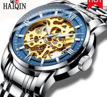 ⌚️ 2018 HAIQIN Brand Automatic Mechanical Watch Men Luxury Business Wristwatch Waterproof Hollow Male Steel Watch Relogio Masculino