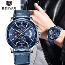 ⌚️ 2018 New BENYAR Top Luxury Brand Men Fashion Blue Watch Men's Business Quartz Chronograph Leather Wristwatch Relogio Masculino