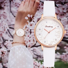 ⌚️ 3D Embossed Flowers Watches For Women Pearls Macaron Leather Girls Creative Quartz Clock Ladies Bracelet Wrist Watch