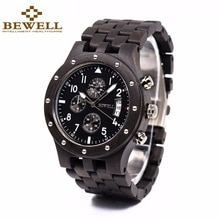 ⌚️ BEWELL Multifunction Mens Watches Top Brand Luxury Wooden Wristwatch with Date Display Sport Stopwatch Relogio Masculino 109D