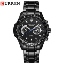 ⌚️ Curren quartz Black steel Vogue Business Military Man Men's watches 3ATM waterproof Dropship 8020 Relogio
