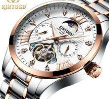 ⌚️ KINYUED Brands Skeleton Watch Automatic Men Luxury Mechanical Watches Tourbillon Clock Mechanism Moon Phase Dress montre homme