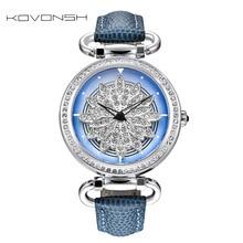 ⌚️ KOVONSH 360 Degree Rotation Dial Luxury Leather Women Watches Diamond Lady Watch Fashion Dress Quartz Wrist Watches Dropshipping