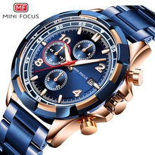 ⌚️ MINI FOCUS Men Fashion Military Dress Analog Watch 3 Sub-dials Multifunction Stainless Steel Strap BLUE RG Mens Top Brand Luxury