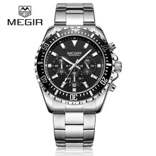 ⌚️ Mens Watches Top Brand Luxury MEGIR Chronograph Stainless Steel Bussiness Male Wristwatches Relogio Masculino