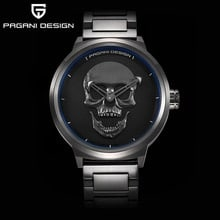 ⌚️ PAGANI brand design punk skull 3D personality watch large dial retro design men's fashion quartz waterproof watch steel watch