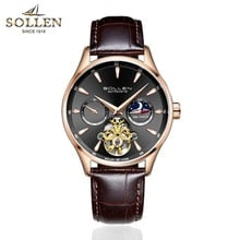 ⌚️ SOLLEN Original Top Luxury Mens Automatic Mechanical Watches Men Leather Watch Male Fashion Casual Business Clock Reloj Hombre