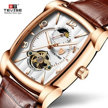 ⌚️ TEVISE T802B Men Watches Moon Phase Tourbillon Rectangle Wristwatch Mens Waterproof Luminous Automatic Mechanical Leather Clock