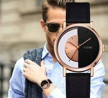 ⌚️ Tomi Brand Brand Men Watches Luxury Rose Black Half Dial Simple Leather Strap Sport Clock Wrist Watch Fashion Male Gift Relogio
