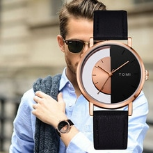 ⌚️ Tomi Brand Brand Men Watches Luxury Rose Black Half Dial Simple Leather Strap Sport Clock Wrist Watch Fashion Male Gift Relogio