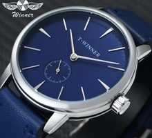 ⌚️ WINNER Fashion Minimalist Blue Mechanical Watch Men Genuine Leather Strap Casual Ultra Thin Mens Watches Top Brand Luxury Clock