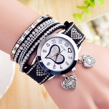 ⌚️ Watch Women Women's bracelet watch heart two laps around quartz watch elmers relogio masculino zegarek damski